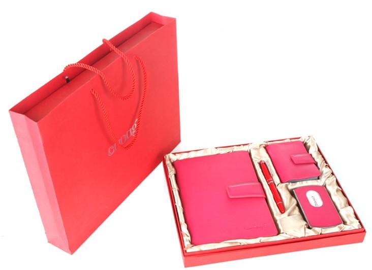 手提袋+包装盒+25K活页笔记本+卡包+名片盒+签字笔商务套装