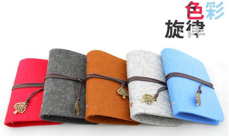 羊毛毡 手工活页本子 创意笔记本记事本复古活页日记本