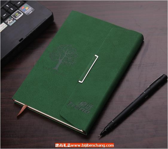 3折绿色植绒笔记本记事本定制